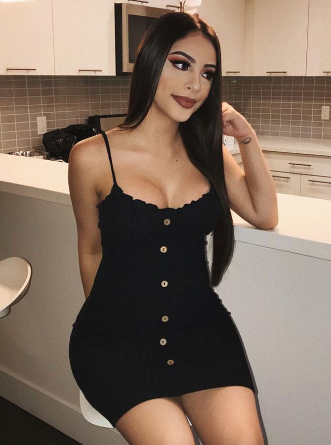 Women's Spaghetti Straps Striped Short Black Bodycone Dress фото