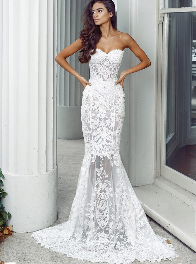 Mermaid Sweetheart Sweep Train Ivory Lace Wedding Dress with Appliques, White