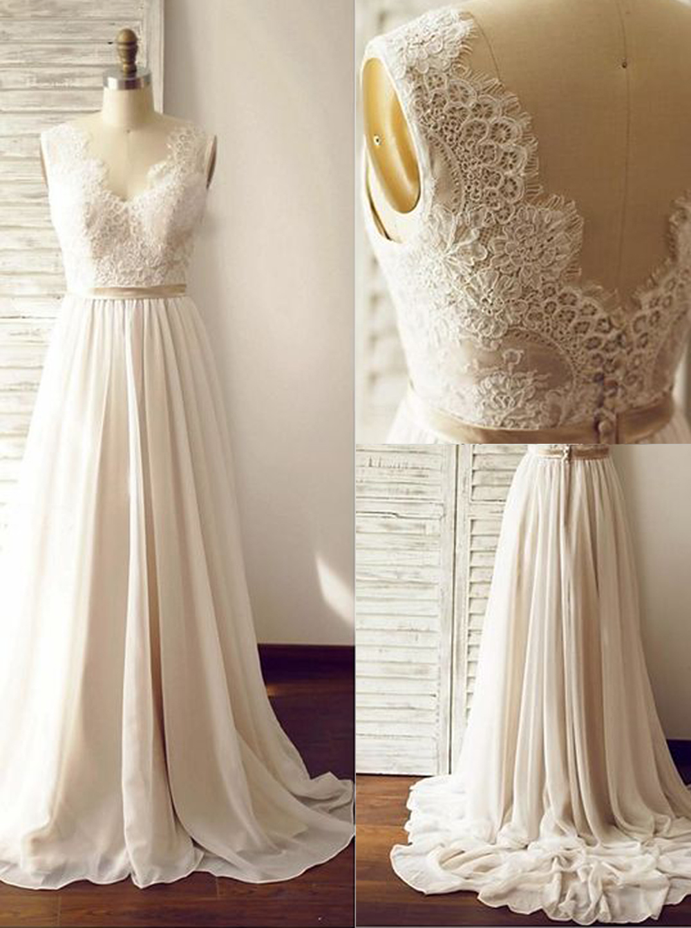 Elegant V-neck Sleeveless Sweep Train Open Back Ivory Wedding Dress with Lace Top