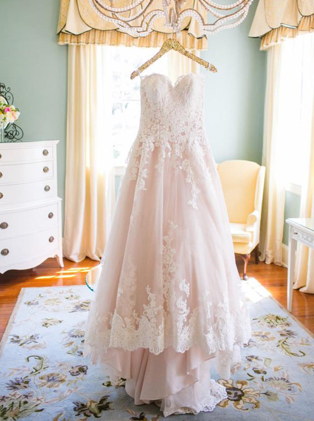 Elegant Sweetheart Hi Low Blush Wedding Dress with White Lace