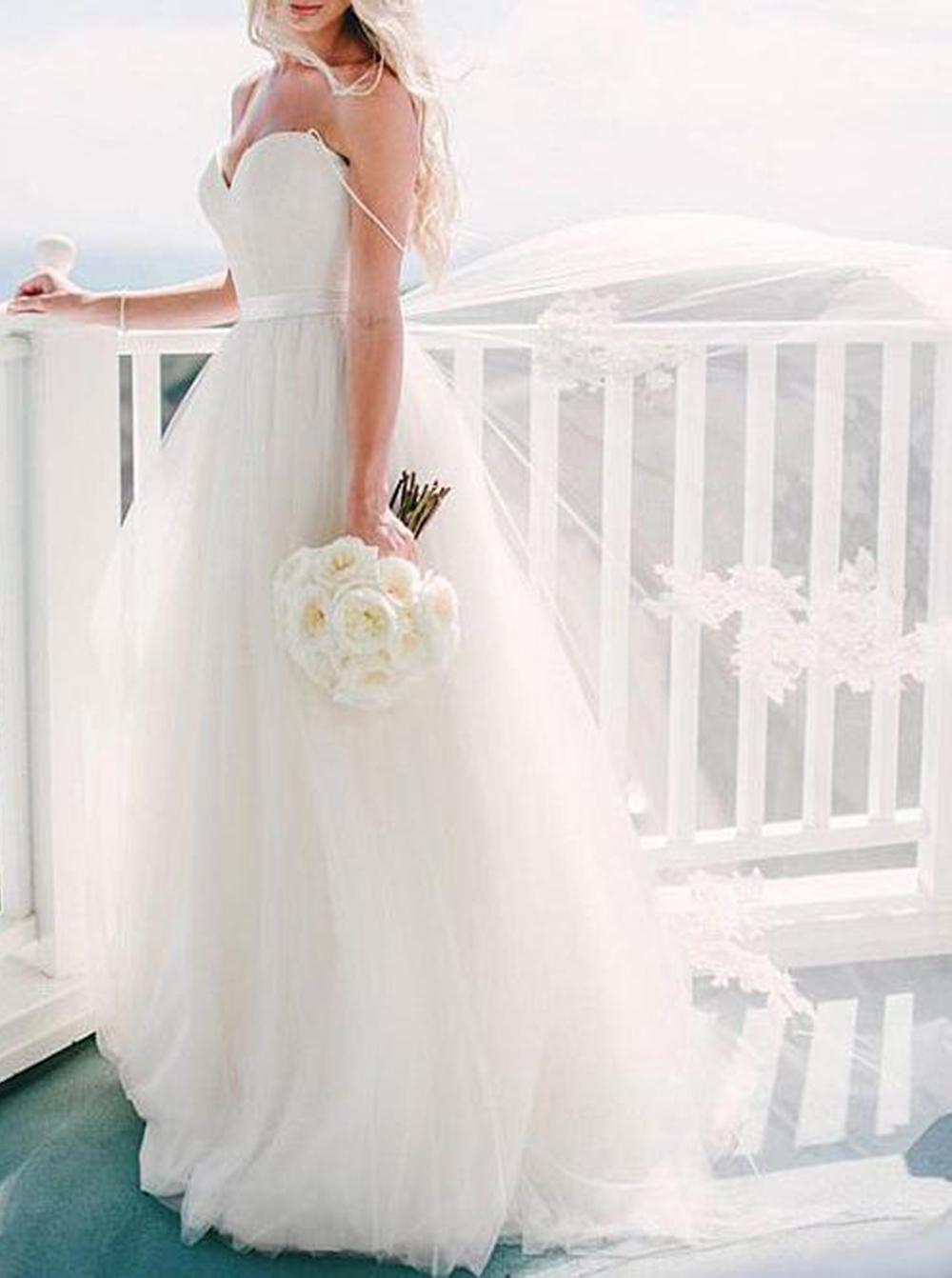 A-line Spaghetti Straps Tulle Sweep Train Appliques Sashes Ivory Wedding Dress