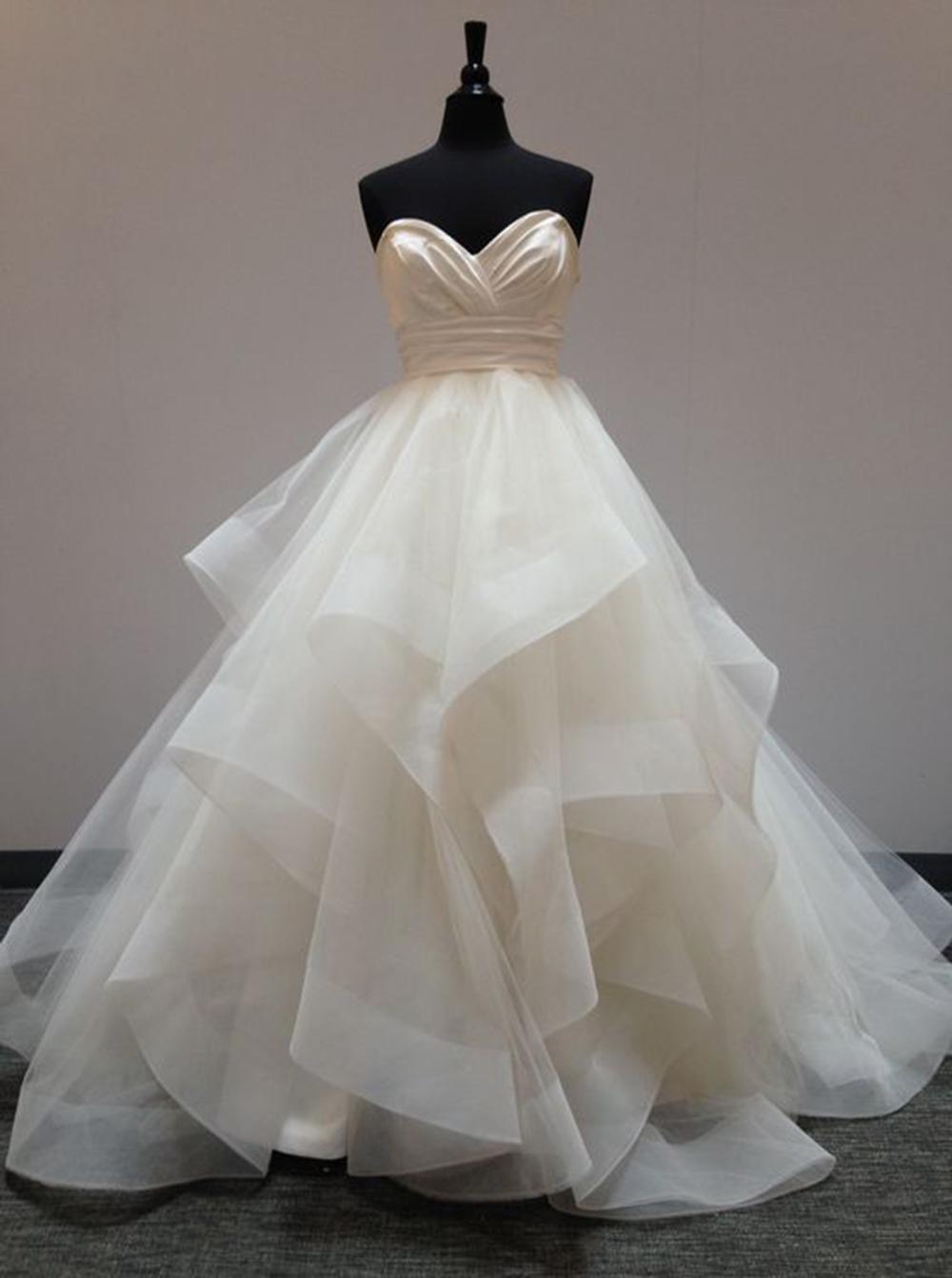 Fabulous Sweetheart Floor-Length Light Champagne Organza Wedding Dress