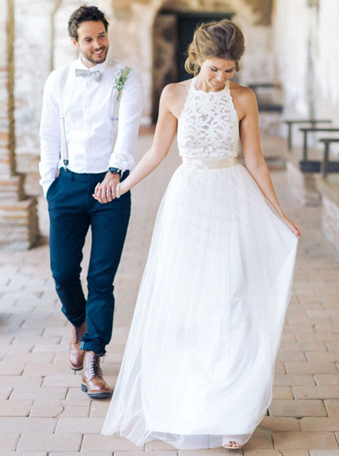 Simple Jewel Sleeveless Floor-Length Lace Top Wedding Dress with Bow, White