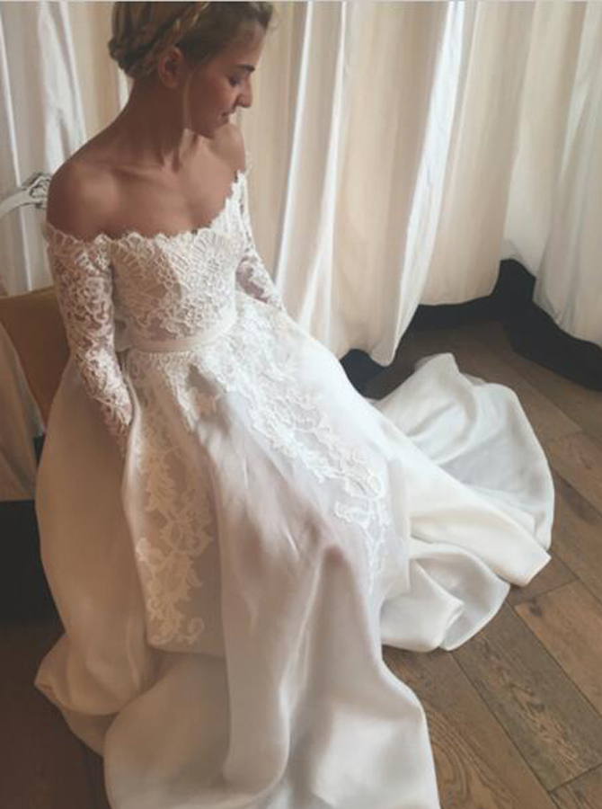 Stunning Off Shoulder Long Sleeves Floor-Length Wedding Dress with Lace Sash фото
