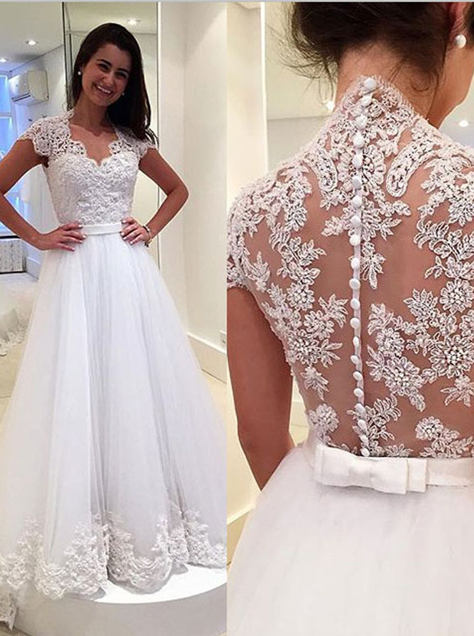 Elegant Scoop Sweep Train Wedding Dress Lace Top with Sash фото