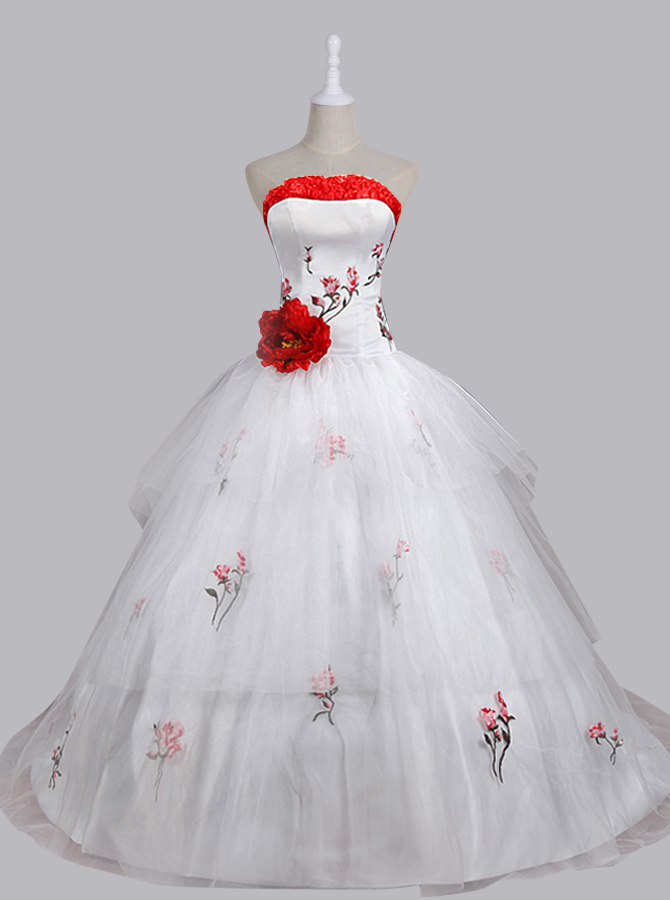 Stunning Ball Gown Strapless Sweep Train Wedding Dress with Embroidery Handmade Flower, White