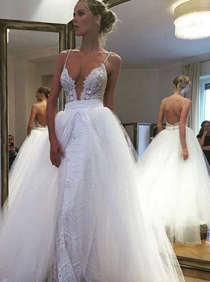 Sexy Deep V-neck Floor-Length Wedding Dress Backless with Lace фото