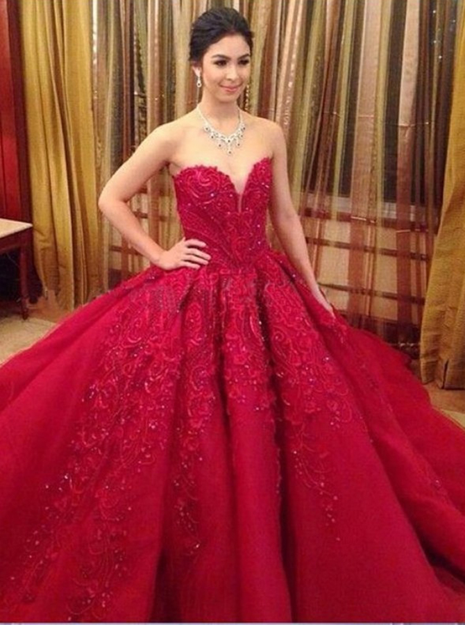 Gorgeous Sweetheart Court Train Organza Wedding Dress with Beading Appliques фото