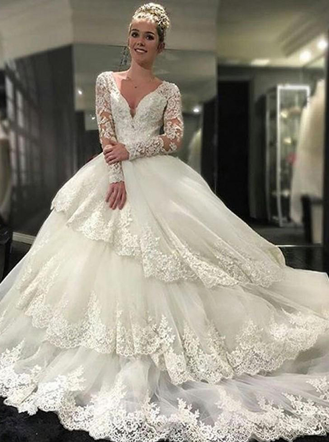 Decent V-neck Tiered Long Sleeves Wedding Dress with Appliques Lace Top Backless, White
