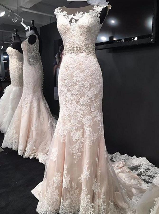 Elegant Bateau Sleeveless Court Train Mermaid Lace Wedding Dress фото