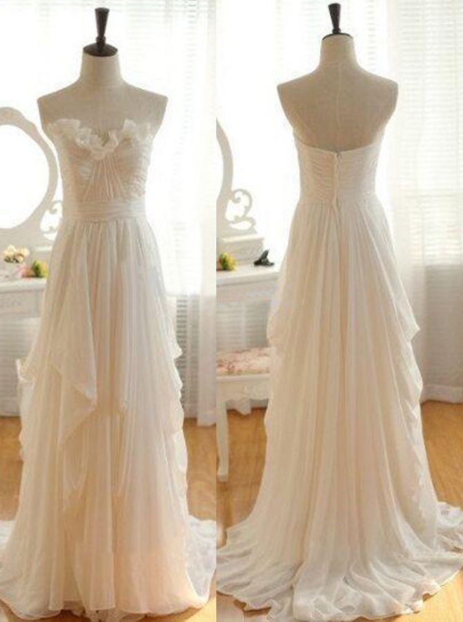 Simple Sweetheart Sweep Train A-line Wedding Dress Ruched, Ivory