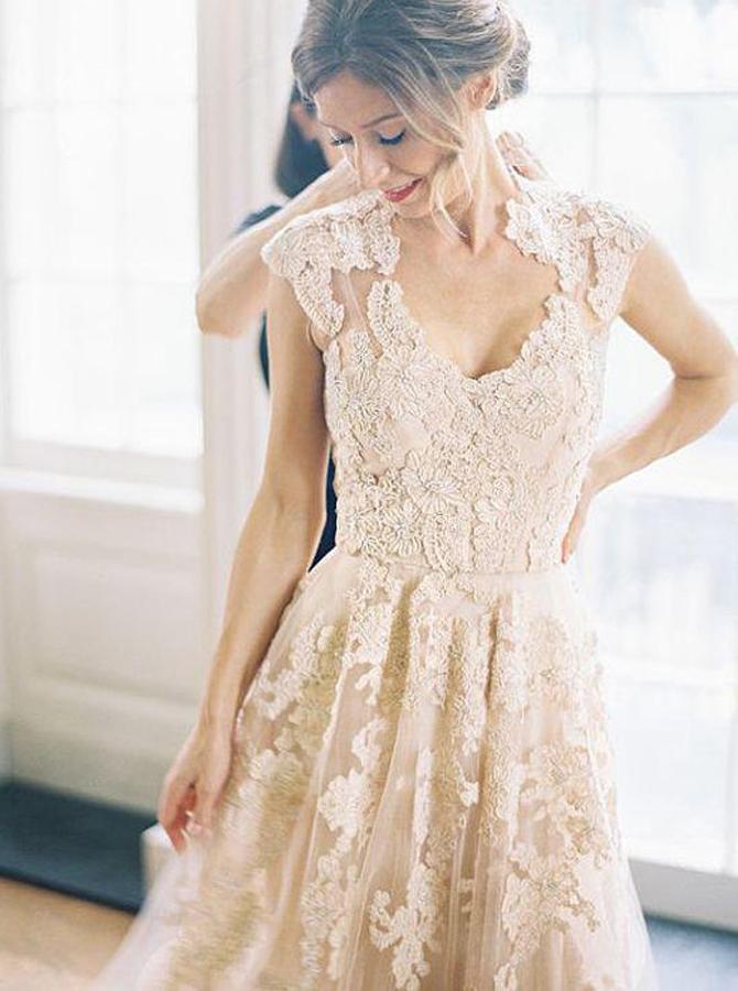 Elegant V-neck Sleeveless Floor-Length Wedding Dress with Lace, Pink