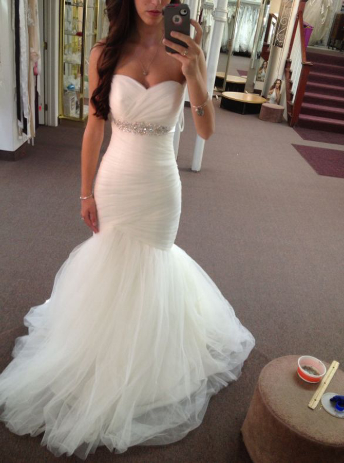 Charming Sweetheart Sweep Train Mermaid Wedding Dress Ruched with Beading фото