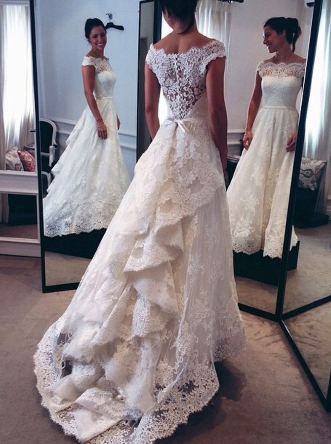 Nectarean Off Shoulder Cap Sleeves Sweep Train Lace Wedding Dress with Sash Ruffles, Ivory