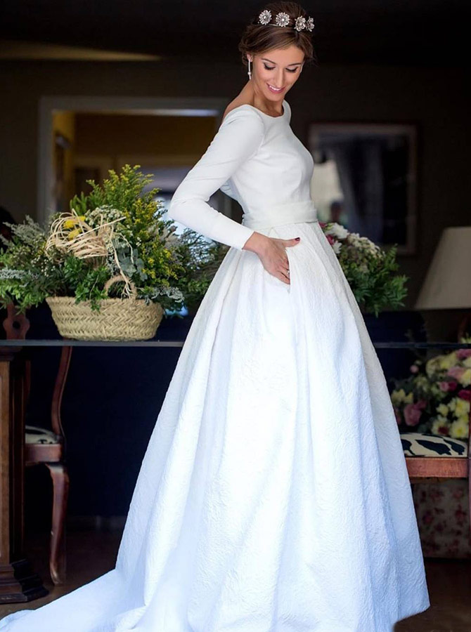 A-Line Round Neck Backless Satin Wedding Dress with Sleeves фото