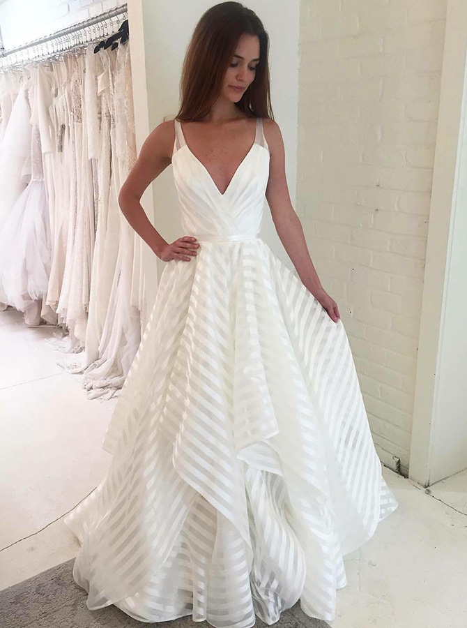 Simple Deep V-Neck Sweep Train Striped Draped Wedding Dress with Tiered фото