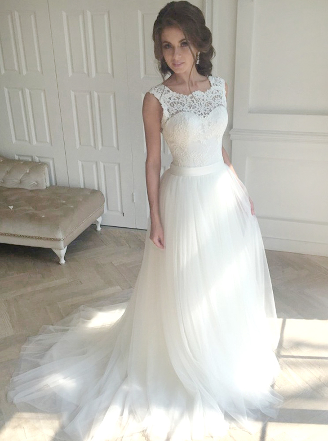 Decent Scalloped Sweep Train Open Back Wedding Dress With Lace Top фото