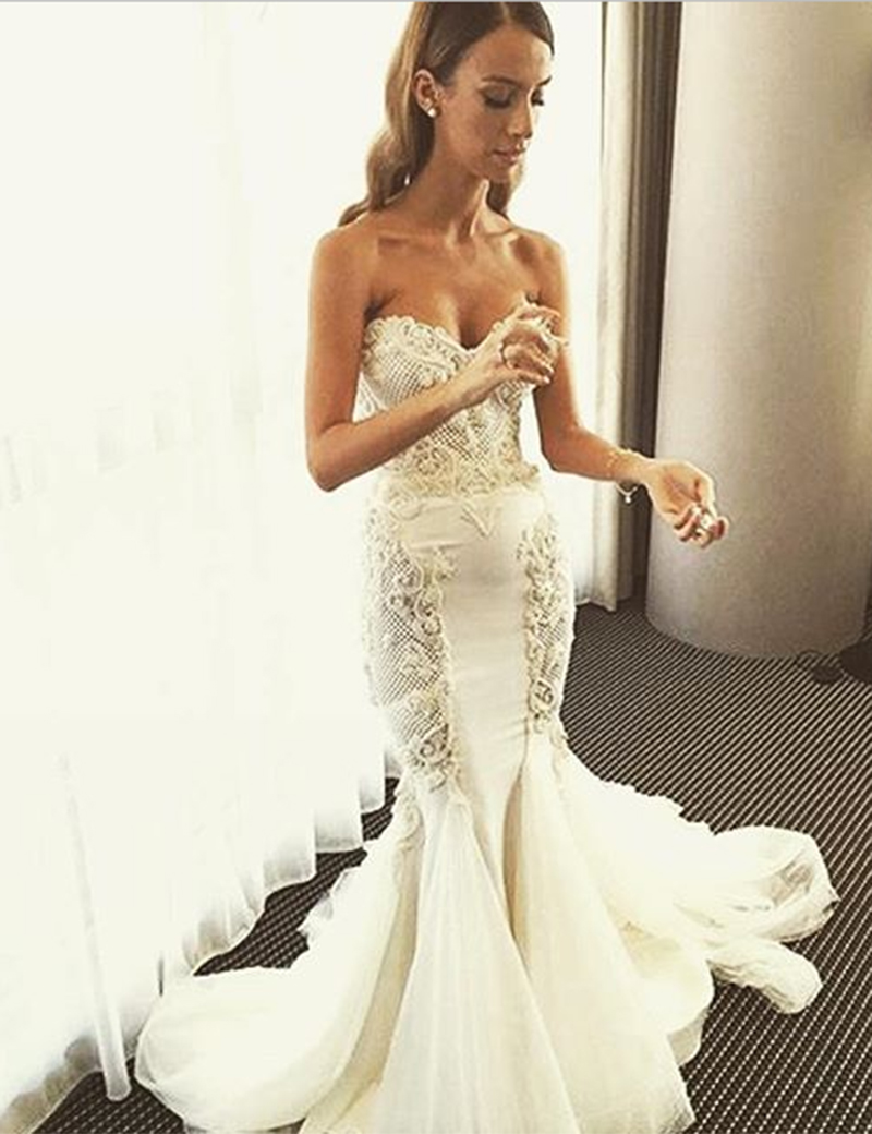 Charming Sweetheart Sweep Train Mermaid Wedding Dress Lace Up with Lace фото
