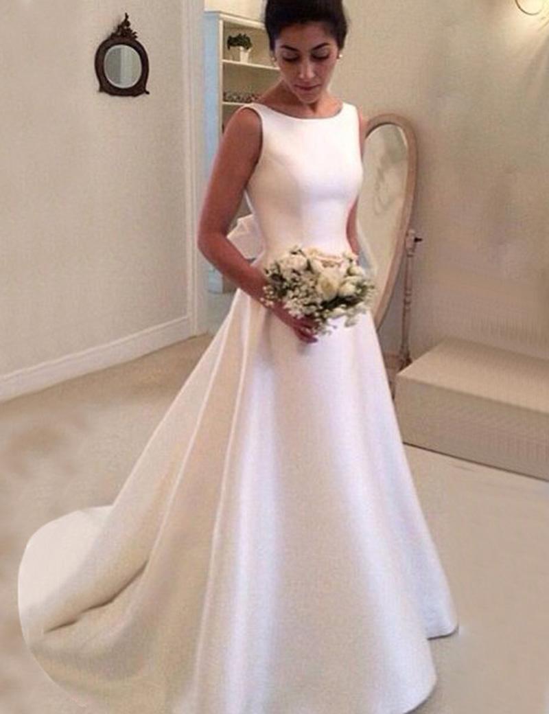 Simple Bateau Backless Court Train A-Line Wedding Dress with Bowknot фото