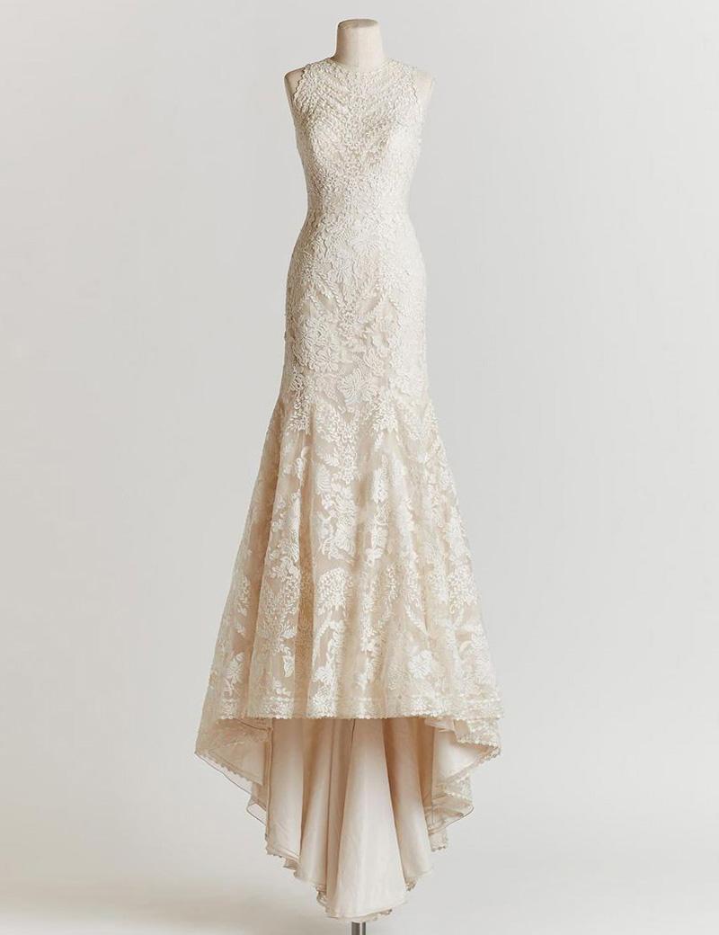 Elegant Round Neck Sleeveless Sweep Train Lace Mermaid Wedding Dress, Ivory