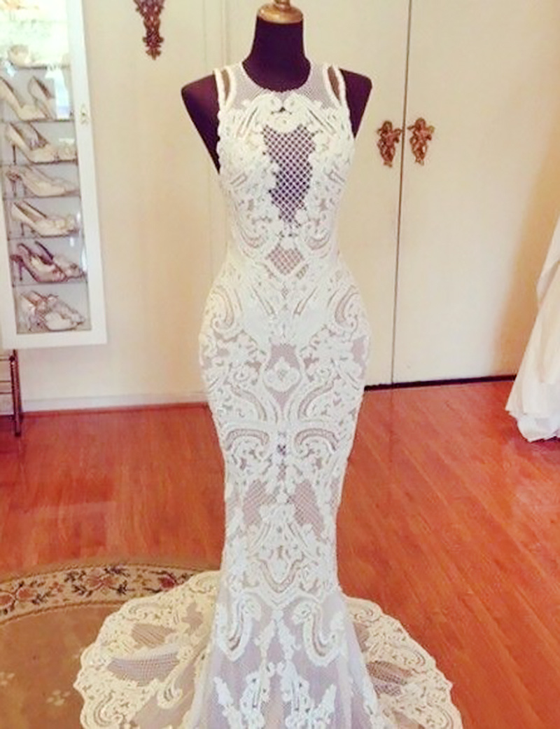 Mermaid Lace Sweep Train Jewel Sweep Train Wedding Dress фото