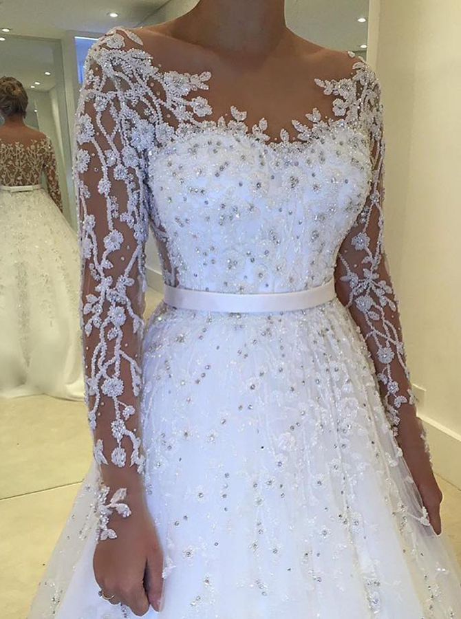 Ball Gown Bateau Long Sleeves Tulle Wedding Dress with Sash Beading Appliques, White