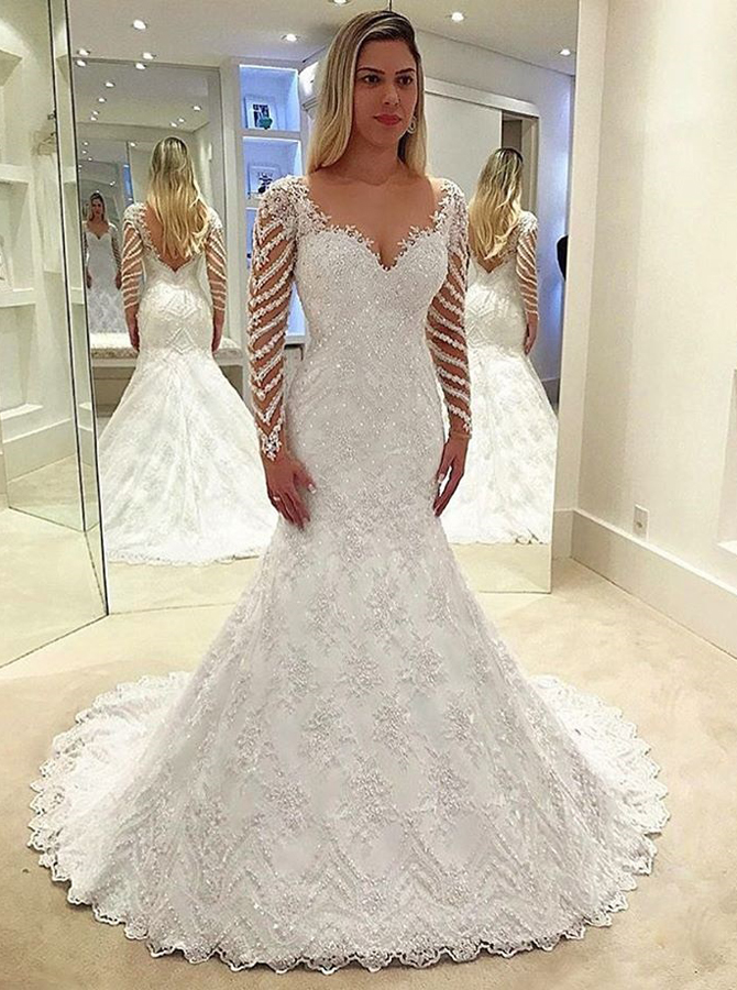 Sheath Scoop Long Sleeves Backless Wedding Dress With