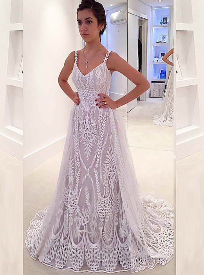 A-Line Straps Sweep Train Backless Tulle Wedding Dress with Appliques, White