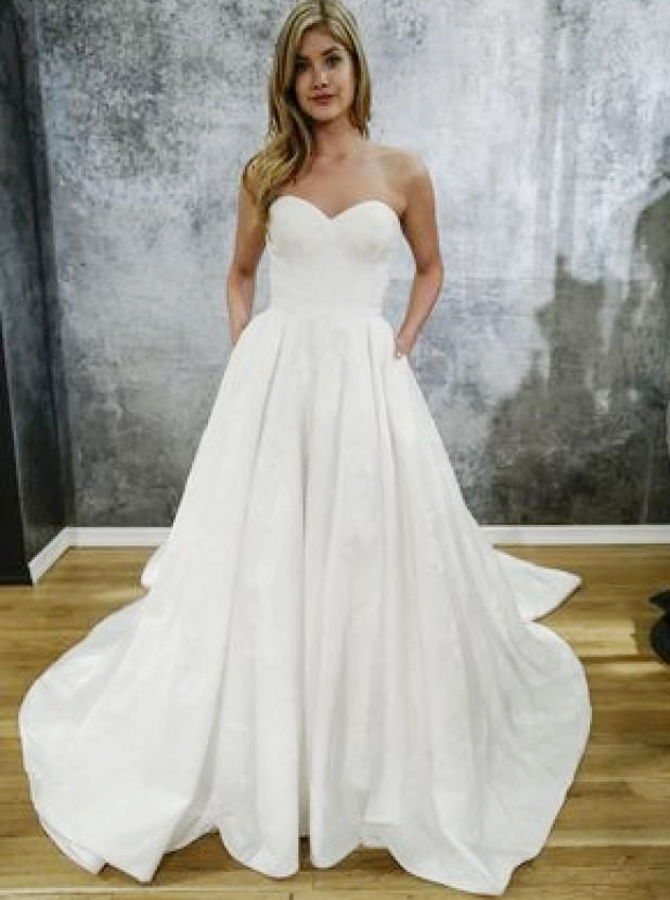A-Line Sweetheart Court Train Satin Wedding Dress with Pockets, White