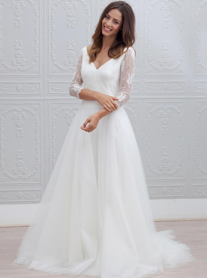 A-Line V-Neck Open Back 3/4 Sleeves Beach Wedding Dress with Lace, White