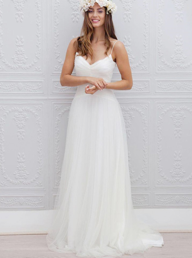 A-Line Spaghetti Straps Sweep Train Beach Wedding Dress Ruched, White