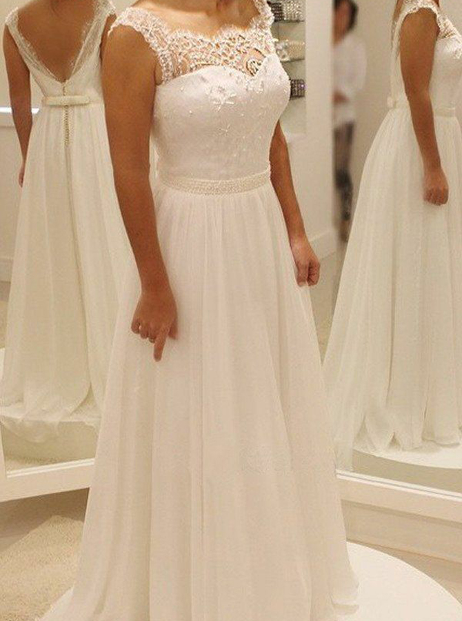 A-Line Square Floor-Length Chiffon Wedding Dress with Lace Beading, White