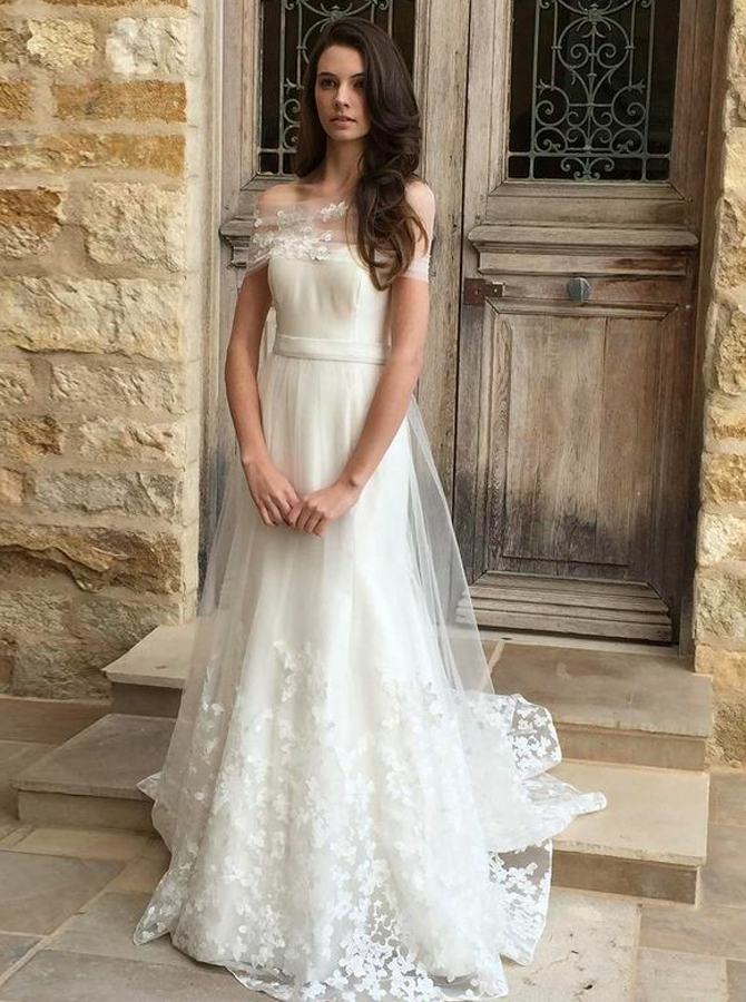A-Line Off-the-Shoulder Sweep Train Tulle Wedding Dress with Appliques фото