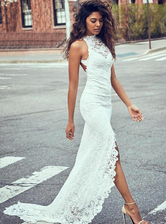 Sheath Round Neck Sweep Train Open Back Lace Wedding Dress with Split, White
