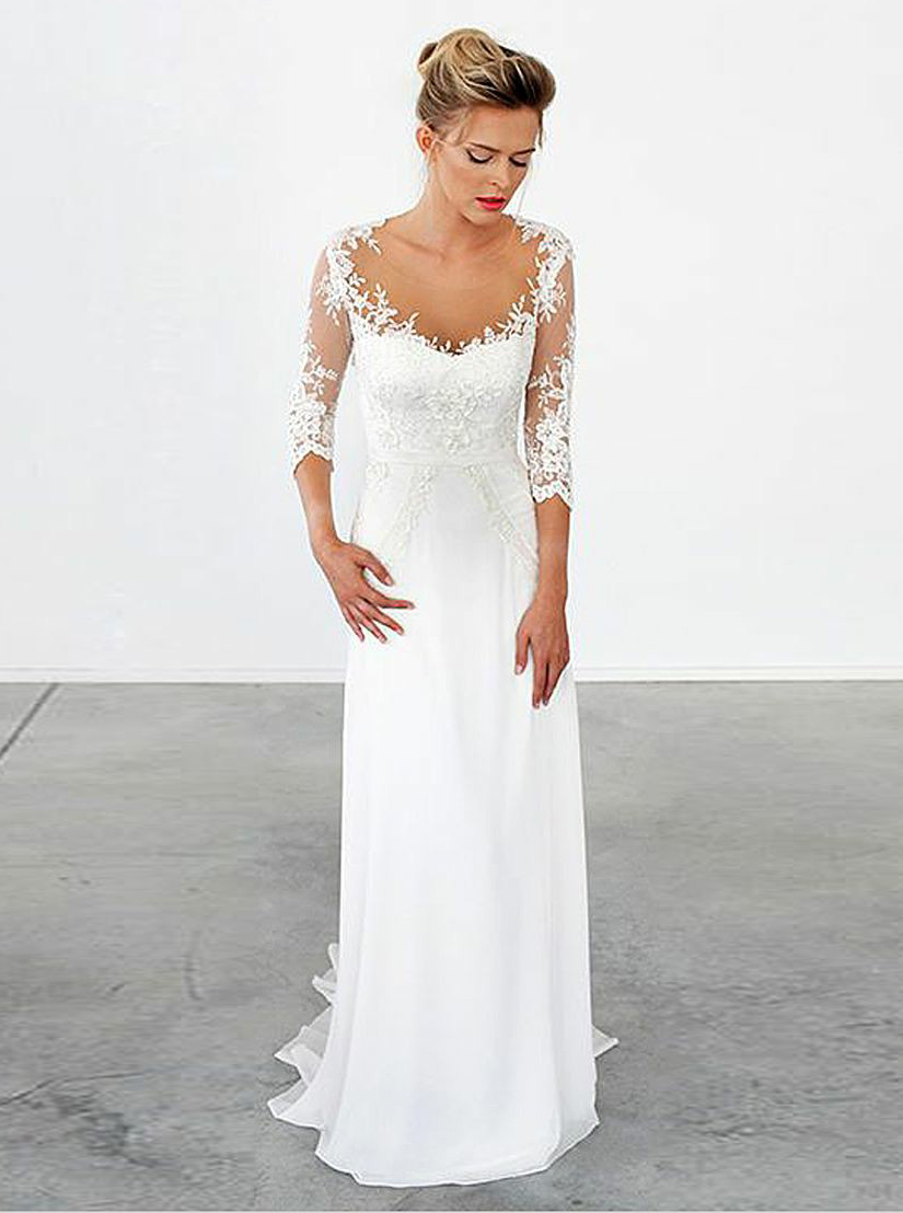 A-Line Illusion Scoop Sweep Train Chiffon Appliques Wedding Dress with Sleeves фото