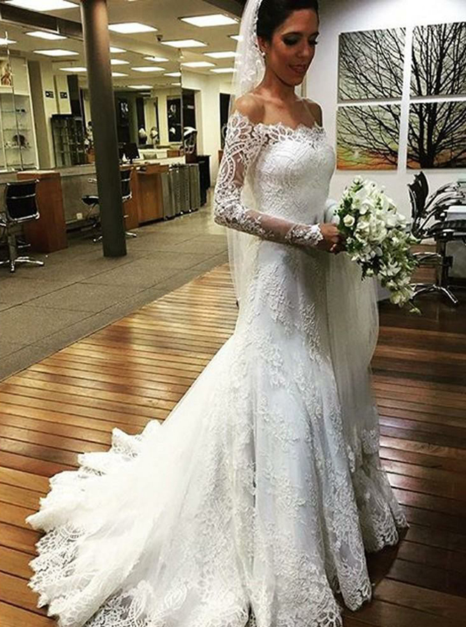 Mermaid Off-the-Shoulder Long Sleeves Lace Appliques Wedding Dress фото