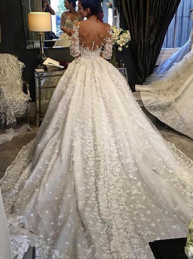 Ball Gown Illusion Bateau Chapel Train Wedding Dress with Appliques, White