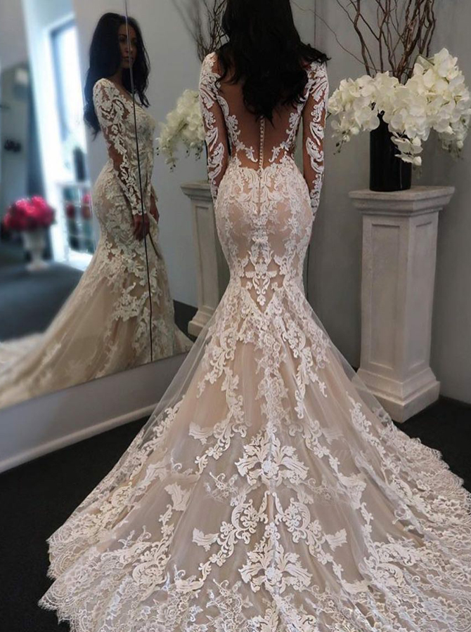 Mermaid V-Neck Light Champagne Tulle Wedding Dress with Appliques Sleeves фото