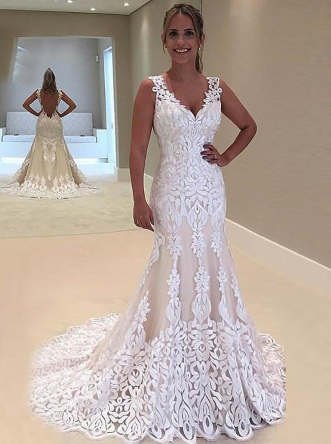 Sheath V-Neck Sweep Train Backless Lace Wedding Dress, White