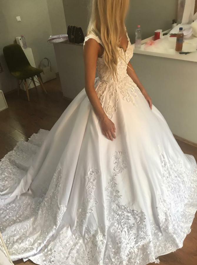 Ball Gown V-Neck Sweep Train Satin Appliques Wedding Dress, White