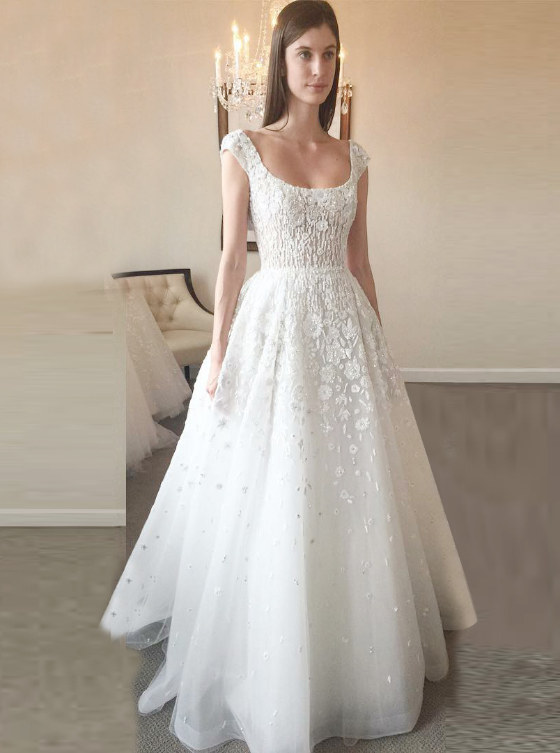A Line Scoop Court Train Tulle Backless Wedding Dress With