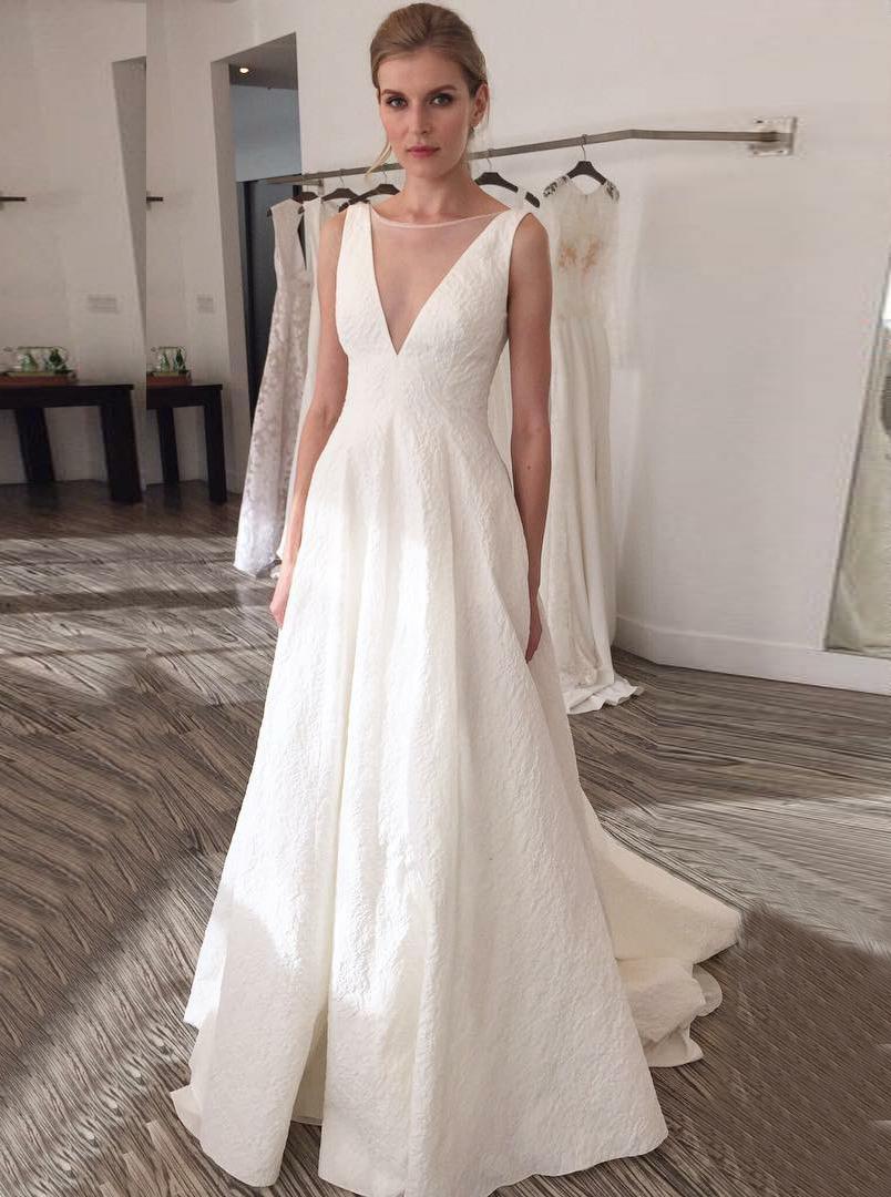 A-Line Illusion Bateau V-Back Court Train Pleated Satin Wedding Dress фото