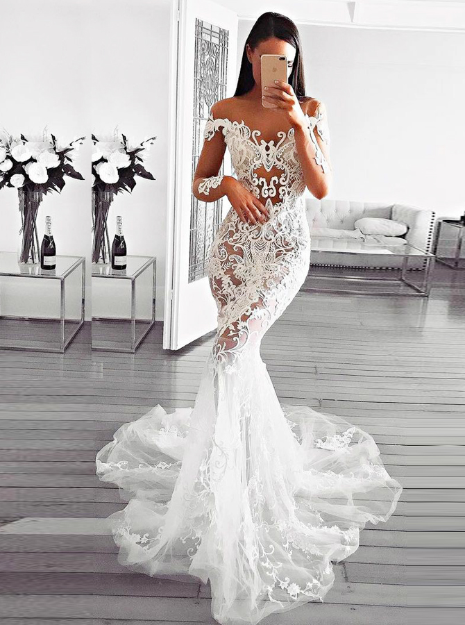 Mermaid Illusion Bateau Long Sleeves Tulle Appliques Wedding