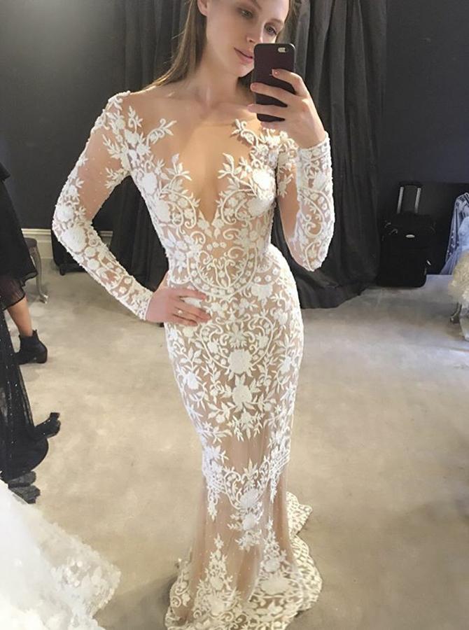 Mermaid Illusion Bateau Sweep Train Flesh Color Tulle Appliques Wedding Dress фото