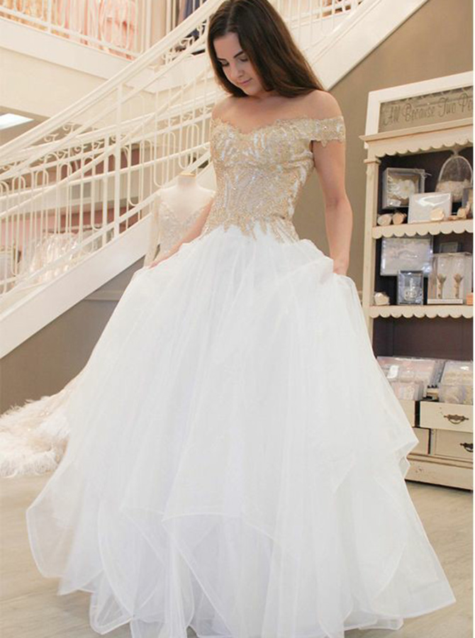 A-Line Off-the-Shoulder Tiered Tulle Floor-Length Wedding Dress with Appliques, White
