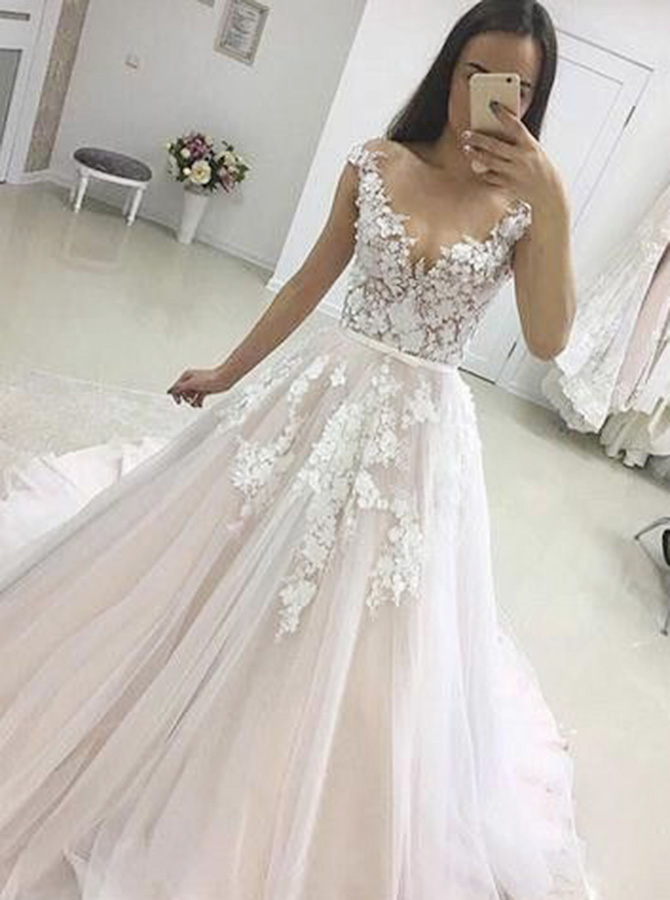A-Line Illusion Bateau Cap Sleeves Court Train Tulle Appliques Wedding Dress фото