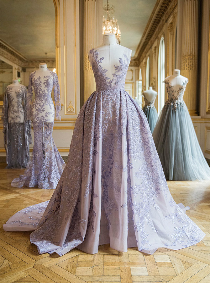A-Line Illusion Bateau Lavender Tulle Wedding Dress with Lace Appliques фото