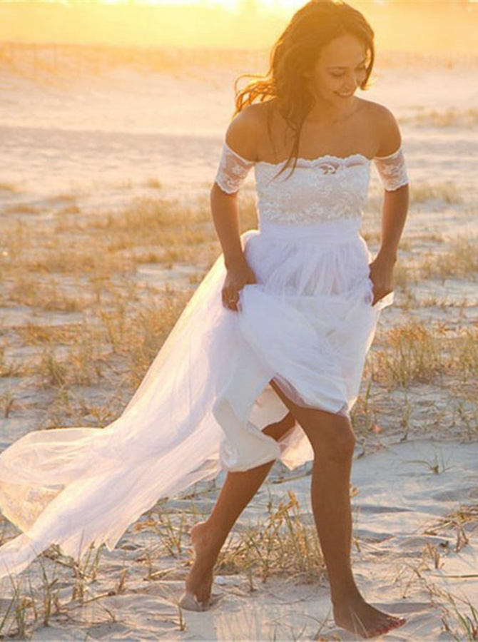 A-Line Strapless Short Sleeves Tulle Beach Wedding Dress with Lace, White