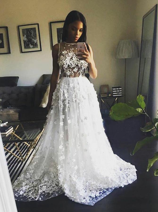 A-Line Jewel Sweep Train Tulle Appliques Beach Wedding Dress, White