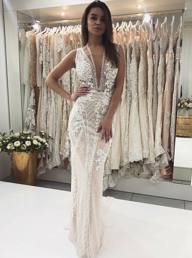 Sheath Deep V-Neck Sweep Train Lace Wedding Dress with Appliques, Light champagne
